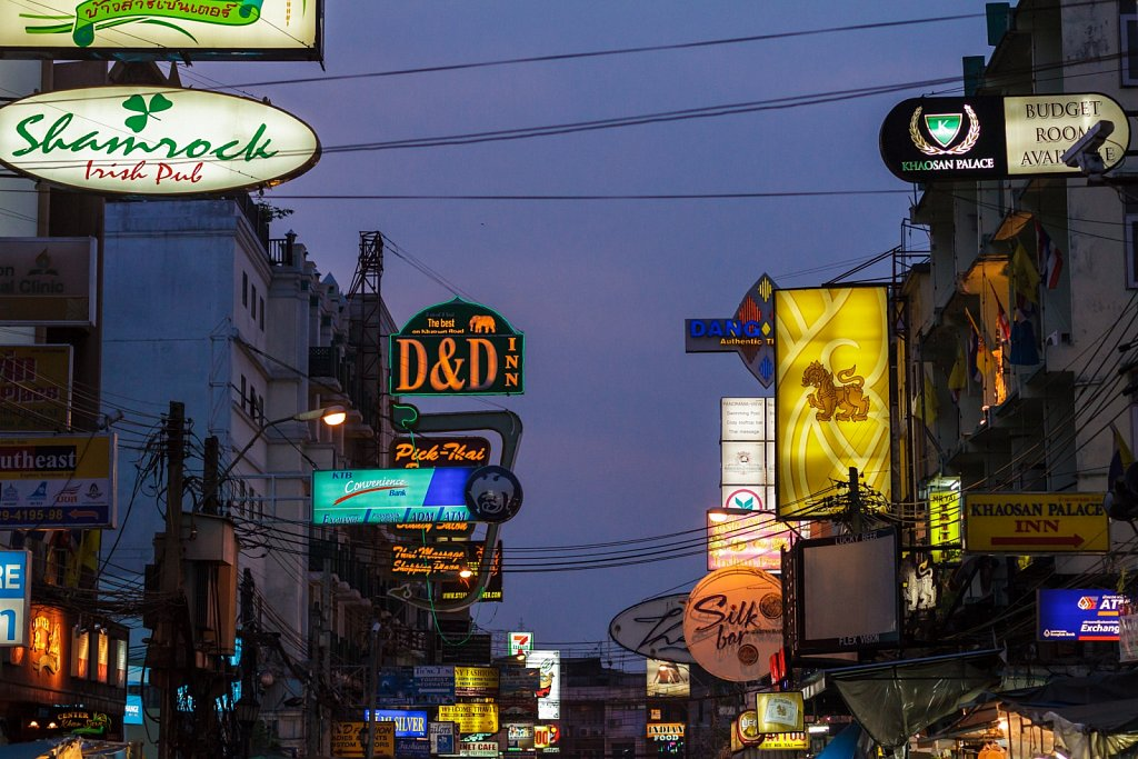 signs on Khao San road