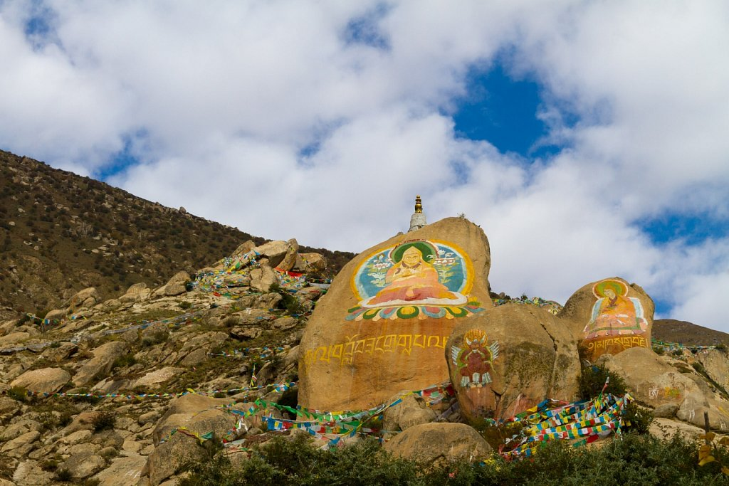painted rocks, Drepung Monastery