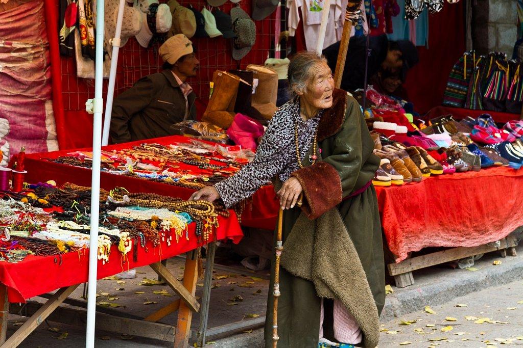 market stalls, Sera Monastery